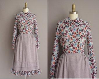 60s Herman Marcus floral long sleeve vintage dress / vintage 1960s dress