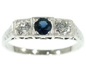 SALE 30% Off Ends 07/31 Diamond and Sapphire Platinum Ring Art Deco c.1920