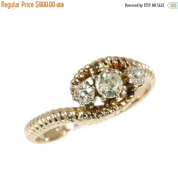 Valentines Sales Antique rose gold diamond Victorian ring ribbed band