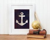 Anchor Nautical Nursery Printable - Nautical Anchor Bathroom Print - Digital Download