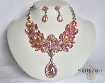 Pink Crystal Wedding Jewelry Set, Drop Necklace, Vintage Inspired Necklace, Rhinestone Necklace
