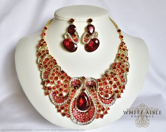 Red Bridal Jewelry Set, Crystal Statement Necklace, Back Drop Necklace, Vintage Style Wedding Necklace Earrings,  Chunky Necklace
