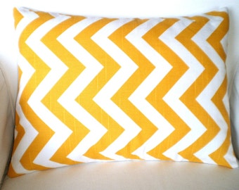 Yellow Chevron Lumbar Pillow Cover, Decorative Throw Pillows, Cushion Covers, Corn Yellow White Chevron Zig Zag Couch Bed 12 x 16 or 12 x 18