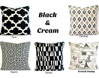 Black Cream Throw Pillow Covers, Decorative Pillows Cushions Black Cream Geometric Moroccan French Stamp Couch Sofa Bed Various Sizes