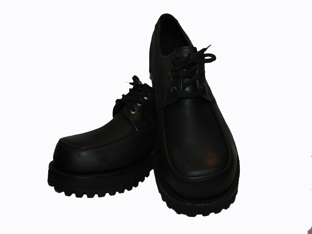 mens muro platform shoes black tanned leather lace front