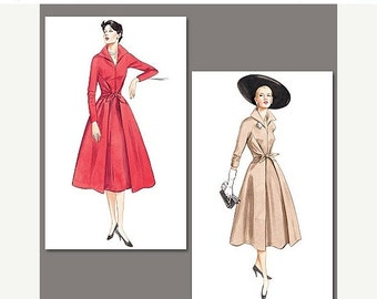 ON SALE Sz 6/8/10 - Misses' Flared, Front Wrap & Tie Dress - Vogue Vintage Model 1952 - Vogue Dress Pattern 2401