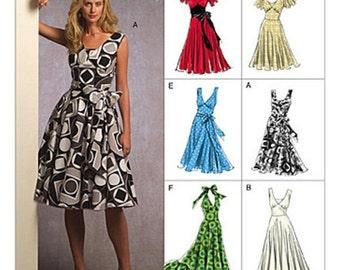 ON SALE Sz 18/20/22 - Vogue Dress Pattern V8470 - Misses' V-Neck Flared Dress in Six Variations - Vogue Easy Options