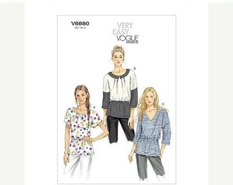 ON SALE Sz 6/8/10/12/14 - Vogue Top Pattern V8880 - Misses' Pullover Top in Three Variations - Very Easy Vogue Pattern