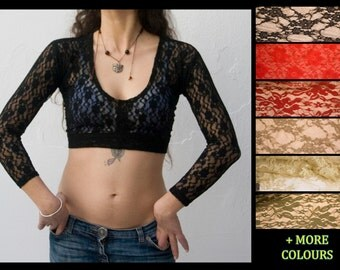Lace Choli Top -  Long 4/5 Sleeve Tribal Top - Pick Color and Size- ATS, Tribal Fusion, Tribal Bellydance top