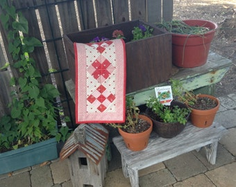 Red Nine-Patch Mini Quilted Table Runner