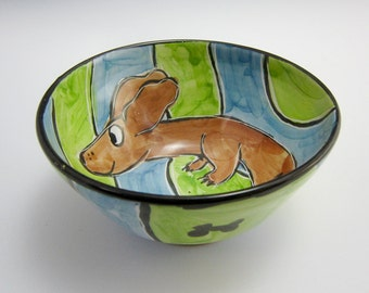 Ceramic Pottery Cereal Bowl - Brown Dachshund Wiener Pet Dog -  Blue Green - Clay Bowl - Majolica Bowl - Handmade - Small Serving Bowl