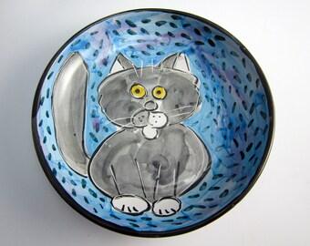 Cat Ceramic Feeding Dish -  Grey Gray Tabby Cat -  Feeding Bowl - Shallow Feeding Dish - Clay Pottery Majolica Handmade on Blue