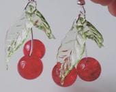 Handmade, cherry, cherry earrings, cherry dangle earrings, red and green, rockabilly, by NewellsJewels on etsy