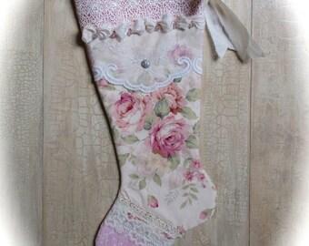 Pink Rose Christmas Stocking Shabby Chic