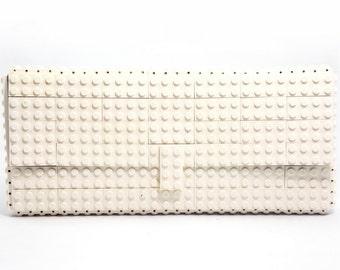 White clutch purse made with LEGO® bricks FREE SHIPPING purse handbag legobag trending fashion lego gift