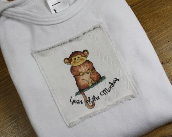 Year of the Monkey 2016 Baby Gown, Chinese New Year, Gown or Sack Infant Baby Long Sleeve, Sizes: 0-3 Months or 3-6 Months