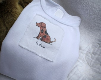 Chien or Dog Onesie Baby French Text, Onesie Cotton Infant Baby Short Sleeve, Sizes: 3-6 Month OR 6-12 Month