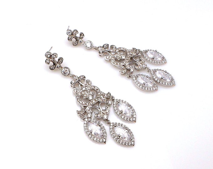 bridal earrings wedding jewelry prom party pageant etched micropave clear white marquise AAA cubic zirconia chandelier style post earrings