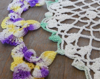 Vintage Doily  Pansies Prairie Flowers Romantic Cottage Chic Hand Crochet Home Decor