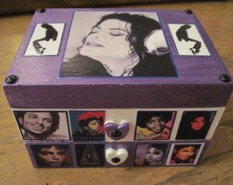 Michael Jackson Unique Hand Crafted Painted and Decoupaged Wood Jewelry Trinket Box
