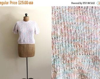 50% OFF SALE vintage sweater 80's pastel short sleeve knit top 1980s kawaii size m medium