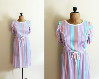 vintage dress pastel colors 1980s striped ruched sleeves retro kawaii clothing size medium m