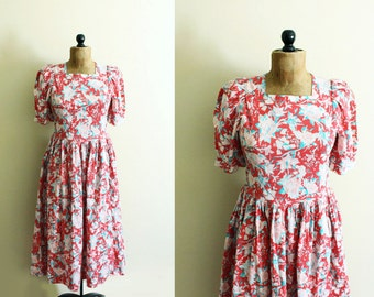 vintage dress laura ashley 1980's floral print pink green romantic clothing size medium m 10