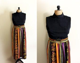 vintage maxi dress 1970's womens clothing retro disco black orange print sleeveless size s m small medium