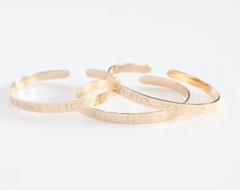 Cuff Bracelet - Custom Hand Stamped Cuff - 14k GOLD FILLED - Bridal Party Gift Set