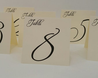 Wedding Table Numbers Tent Table Number Large Freestyle Font Design for Your Wedding Reception Decoration