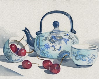 Original watercolor painting - Chinese teapot and cherries