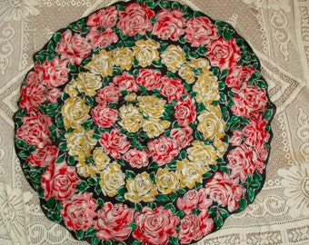 unique round silk Sally Gee scarf - roses, yellow, pink, red, black