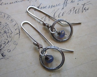handmade earrings - sterling silver and tanzanite, hand forged sterling, long ear wires