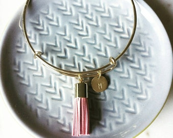 Tassel bangle with personalized brass disc -personalized tassel bangle -stacking bracelet