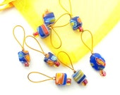 Bead Knitting Stitch Markers - Set of 7 - Cobalt Cube Millefiori - Fits Up to US 9