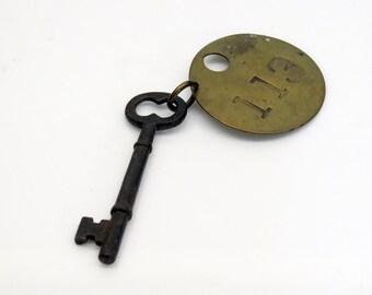 Antique Hotel Skeleton Key w/ Brass Room Tag 113