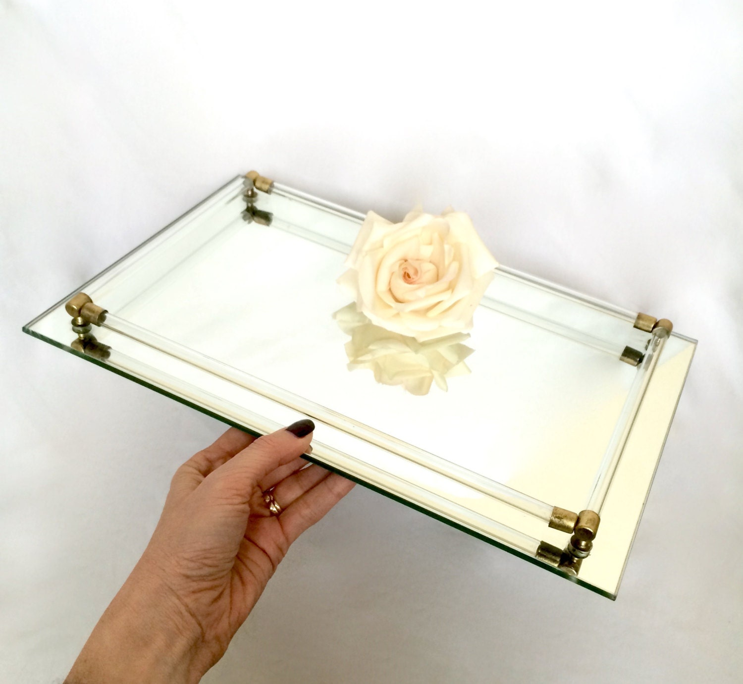 Large mirrored glass vanity tray perfume by for Mirrored bathroom tray