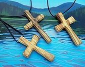 RESERVED for A.W. - Three Traditional Wood Cross Pendants with Black Leather Cordings