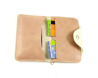 Smartphone sleeve and wallet 2in1 white and pale pink