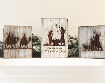 Rustic weathered barnwood nativity scene