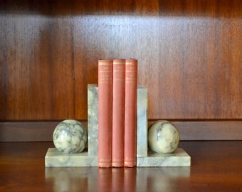 vintage himark italian marble bookends