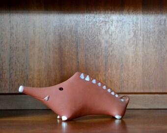 vintage midcentury red clay warthog figurine