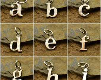 Typewriter Font Charms Sterling Silver  - A-Z Alphabet Charms, Letters, Lower Case Initials