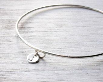 Sterling silver monogram bracelet, silver bangle initial charm, silver charm bracelet, initial bangle handmade