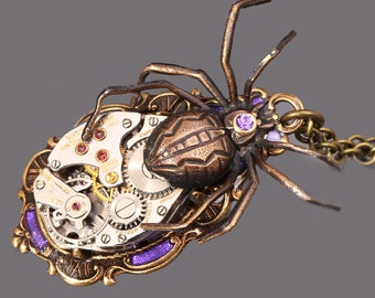 Steampunk Necklace Steampunk Pendant Spider Necklace Purple Halloween
