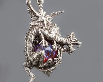 Silver Dragon Necklace Dragons Breath Opal Dragons Breath Necklace