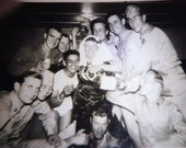 Vintage Vernacular Photo Snapshot: Don in DRAG with army buddies and lots of Sake