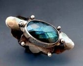 Unique Handmade Silver Jewelry, Sterling Silver Boho Ring, Sterling Silver Statement Ring, Labradorite Jewelry, Saddle Ring, Bohemian