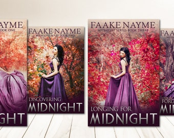 """Four Book Series Premade Digital eBook Book Cover Design Trilogy """"Midnight Series"""" Young New Adult YA Girl Vampire Paranormal Teen Romance"""