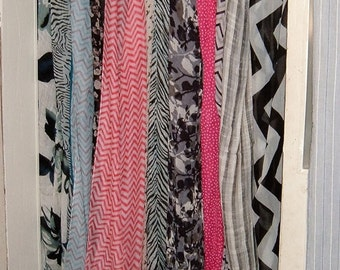 Scarf Curtain, Banner, Boho, 12 Gauzy Scarves. Fits 33 x 74-Inch Door Opening, Adjustable